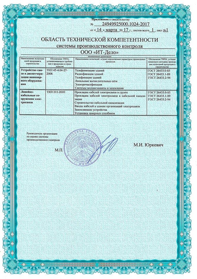 Сертификат - монтаж компьютерных сетей